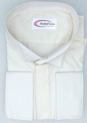 Ivory wing collar shirt NEW Formal Tailor for cufflink Large neck sizes